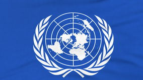International flag of UN flying on the wind stock video footage