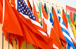 International Flags. Colorful flags of a variety of nations Royalty Free Stock Photos