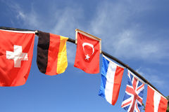 International flags. International flags bowing in the wind Royalty Free Stock Photo