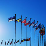 International Flags. Against blue sky Stock Images