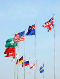 International flags. In the wind with blue sky Stock Photos