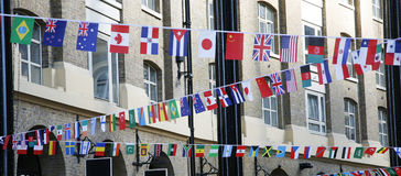 International flags. In London 2012 Olympics Games, displayed above Hays Galleria shopping area Stock Images