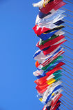 International flags. A row of colorful international flags Royalty Free Stock Photos
