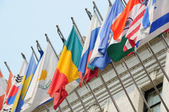 International flags. A row of colorful international flags stock photos