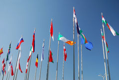 International flags. On blue sky. symbol of  global world Stock Images