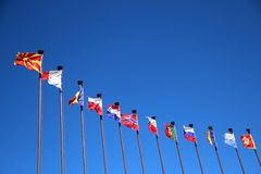 International flags against the sky Royalty Free Stock Photography