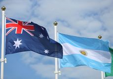 International flags: Australia and  Argentina. International flags:  Australia and  Argentina Royalty Free Stock Photography