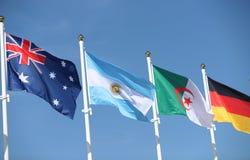 International flags: Australia, Argentina, Algeria and Germany Stock Photography