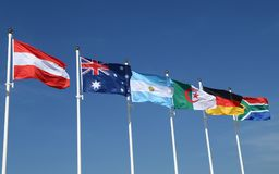 International flags: Austria, Australia, Argentina, Algeria, Germany and South Africa. International flags:  Austria, Australia, Argentina, Algeria, Germany and Stock Images