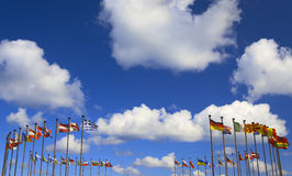 International flags on a background of clouds Stock Photo