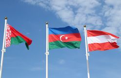 International flags: Belarus, Azerbaijan and Austria. International flags:  Belarus, Azerbaijan and Austria Stock Photography