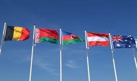 International flags: Belgium,  Belarus, Azerbaijan, Austria and Australia Royalty Free Stock Photos
