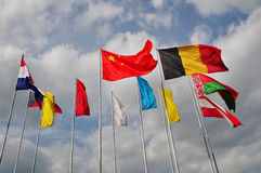 International flags china. International flags on cloudy sky, background Stock Photo