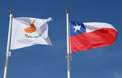 International flags: Cyprus and Chile. International flags:  Cyprus and Chile Stock Photography