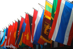 International Flags. Flags from Europe line up in a proud display of international countries Royalty Free Stock Photo