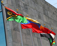 International Flags in the front of United Nations Headquarter in New York Stock Photos