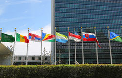 International Flags in the front of United Nations Headquarter in New York Stock Images
