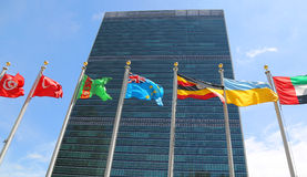 International Flags in the front of United Nations Headquarter in New York Stock Photography
