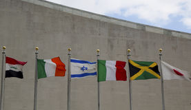 International Flags in the front of United Nations Headquarter in New York Royalty Free Stock Photos