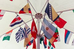 International flags grouped stock photo