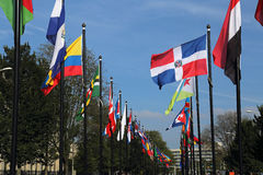 International flags in The Hague, Holland Royalty Free Stock Photos