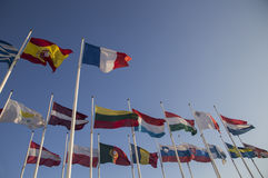 International flags. Of many nations waving in the wind Stock Photo