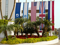International flags near Eilat's resort hotel Royalty Free Stock Image