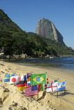 International Flags Rio de Janeiro Beach Stock Photo