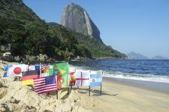 International Flags Rio de Janeiro Beach Stock Image