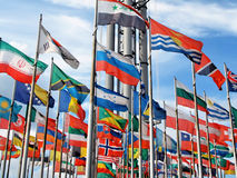 International flags on sky. (Leipzig exhibition Royalty Free Stock Images