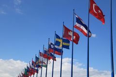 International flags on sky background Royalty Free Stock Photos