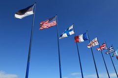 International flags on sky background Stock Image