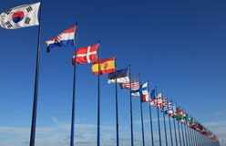 International flags on sky background Royalty Free Stock Images