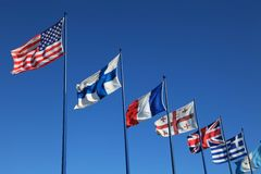 International flags on sky background Royalty Free Stock Image