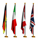 International Flags on Stands 1 Stock Photos