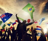 International flags togetherness unity variation diversity ethnicity concept stock image