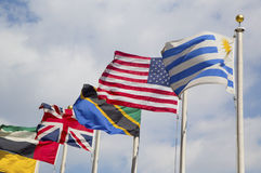 International Flags at UN Headquarter Stock Images