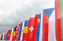 International flags. Waving in a row Stock Photography