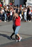 International Flashmob Day of Rueda de Casino, 57 countries, 160 cities. Several hundred persons dance Hispanic rhythms on the Ma Stock Photography