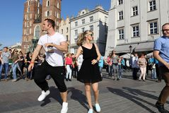 International Flashmob Day of Rueda de Casino, 57 countries, 160 cities. Several hundred persons dance Hispanic rhythms on the Ma Stock Photos