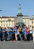 International Flashmob Day of Rueda de Casino, 57 countries, 160 cities. Several hundred persons dance Hispanic rhythms on the Ma. In Square in Cracow. Poland Royalty Free Stock Photos
