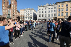 International Flashmob Day of Rueda de Casino, 57 countries, 160 cities. Several hundred persons dance Hispanic rhythms on the Ma Royalty Free Stock Image