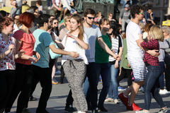 International Flashmob Day of Rueda de Casino, 57 countries, 160 cities. Several hundred persons dance Hispanic rhythms on the Ma Royalty Free Stock Images