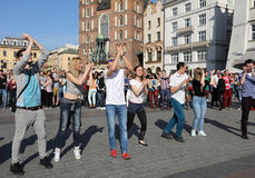 International Flashmob Day of Rueda de Casino, 57 countries, 160 cities. Several hundred persons dance Hispanic rhythms on the Ma Royalty Free Stock Photography
