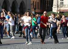 International Flashmob Day of Rueda de Casino, 57 countries, 160 cities. Several hundred persons dance Hispanic rhythms on the Mai Stock Photography