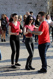 International Flashmob Day of Rueda de Casino, 57 countries, 160 cities. Several hundred persons dance Hispanic rhythms on the Mai Stock Images