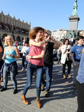 International Flashmob Day of Rueda de Casino, 57 countries, 160 cities. Several hundred persons dance Hispanic rhythms on the Mai Stock Photos