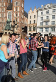 International Flashmob Day of Rueda de Casino, 57 countries, 160 cities. Several hundred persons dance Hispanic rhythms on the Mai Royalty Free Stock Photography