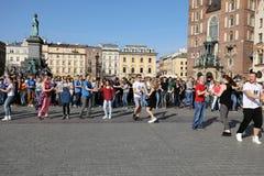 International Flashmob Day of Rueda de Casino, 57 countries, 160 cities. Several hundred persons dance Hispanic rhythms on the Mai Stock Photography
