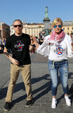 International Flashmob Day of Rueda de Casino, 57 countries, 160 cities. Several hundred persons dance Hispanic rhythms on the Mai Stock Photos